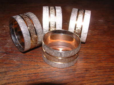 """COLLECTABLE SET of 4 BARK STYLE TEXTURED TWO TONE NAPKIN RINGS 1.75"""" diam"""