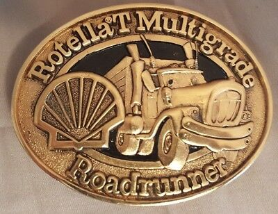 Vintage Shell Rotella T Roadrunner Belt Buckle Bright finish with case