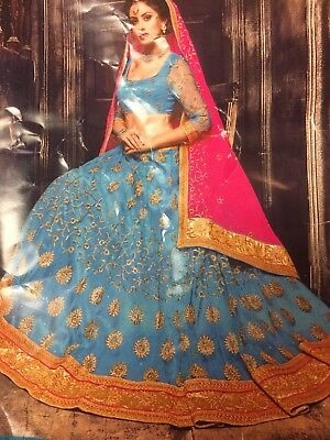 Blue Lehanga Choli With Pink Chunri- Free Shipping