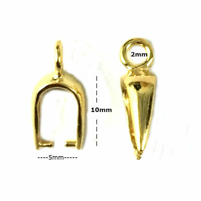 24K Gold Plated Sterling Silver 13mm Pinch Bail Findings PK1 PK5