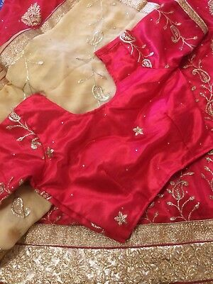 Red Lehanga Choli With Light Brown Chunri- Free Shipping