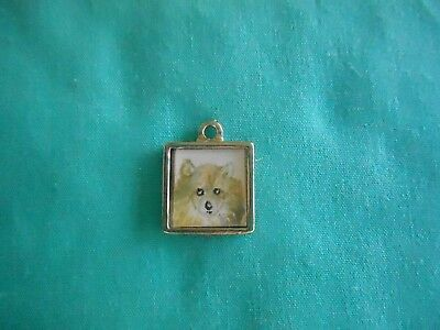 POMERANIAN - hand painted Tiny Charm in silver tone frame