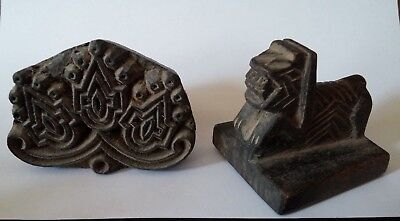 WOODEN HAND CARVED TEXTILE PRINTING FABRIC BLOCK and STAMP
