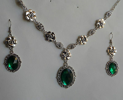 Camellia Filigree Victorian Style Emerald Green Silver Plated Necklace Set Cfs