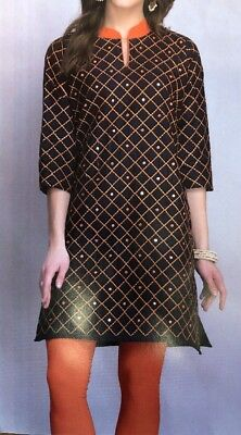 Navy Blue Embroidered DesIgner Kurti- Size 40/L USA Seller - Free Shipping