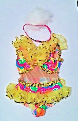 Girls Dance Costume with sequins and fluffy headband Size SC