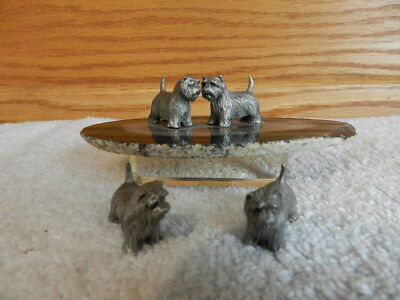 Lot of 4 MINIATURE RADCLIFFE P. DAVIS PEWTER WEST HIGHLAND TERRIER DOGS