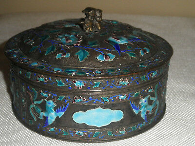 Antique Chinese Enameled & Silver Box, Birds, Flowers And Butterflies