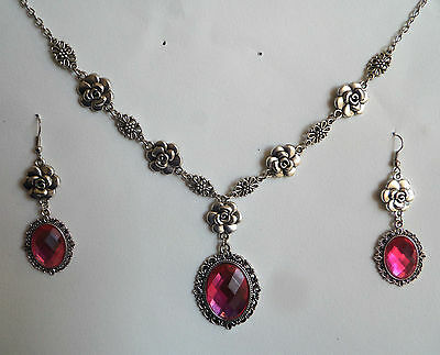 Camellia Filigree Victorian Style Hot Pink Silver Plated Necklace Set Cfs
