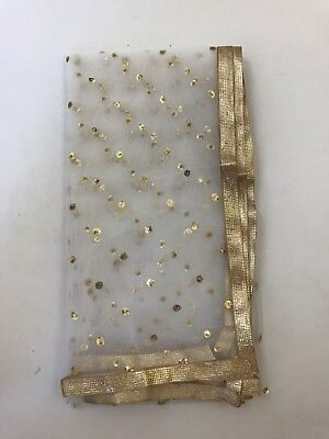 $9.99 Partywear  White Dupatta designer work Indian  Scarf Match any Dress Suit