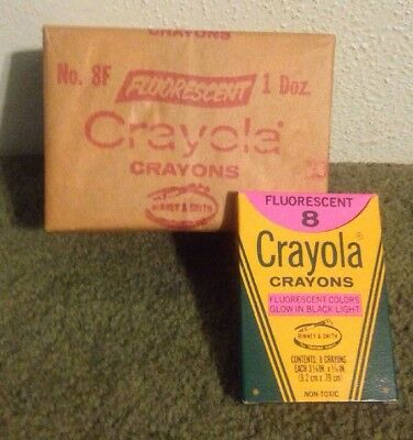 vtg 12 boxes of 8 pack crayola crayons fluorescent colors no 8f