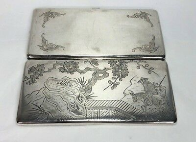 Rare 19c Chinese Export Silver Money Case Box w Engraved Bats Horse Rider Child