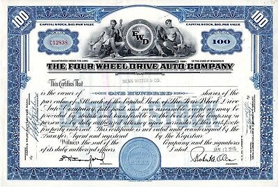 The Four Wheel Drive Auto Company of Clintonville, WI  1956 Stock Certificate