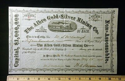 Vintage 1898 Albro Gold and Silver Mining Company Stock Certificate