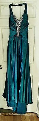 TONY BOWLS PAGEANT/EVENING GOWN w/STOLE - PEACOCK - SIZE 4. RHINESTONES