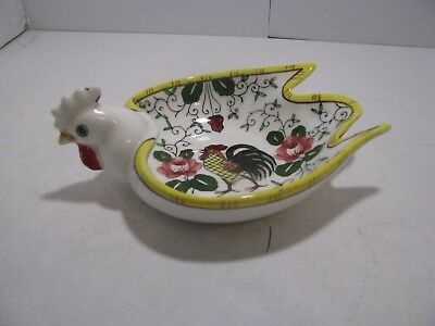 PY Rooster and Roses Rooster Shaped Candy Dish  Early Provincial UCAGCO PY