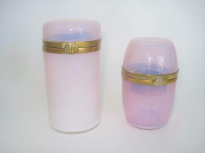 Two Antique French Pink Opaline Glass Vanity Cosmetic Jars Bottles  Victorian
