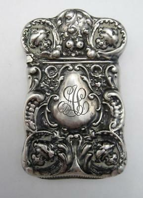 Art Nouveau Sterling Silver Vesta Case or Match Safe Cherubic Faces No Reserve