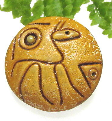 Unusual Vtg. Abstract Ceramic Button W/ Picassolike Face Snake & Fish Z114