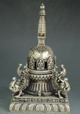 Chinese old copper plating silver Buddha Stupa Pagoda Tower Incense Burner  f02