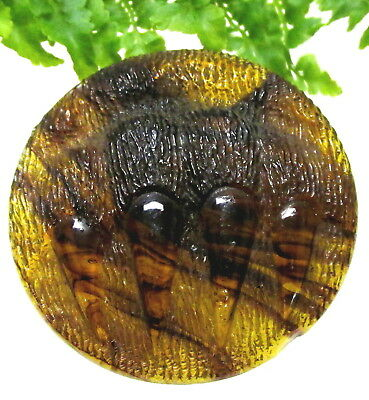 """Magnificent Lg. 1 1/2""""  Antique Tortoise Shell Glass Bear Claw Button Z40"""
