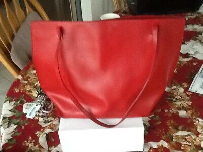 Vintage FURLA Red Leather Medium Tote Bag  Made in Italy