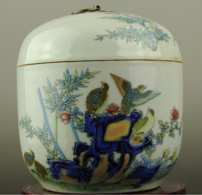 China old hand-made famille rose porcelain bird & flower pattern Cover pot c02