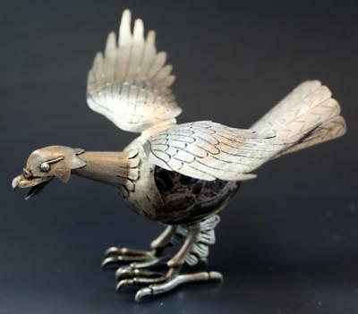 C1920s Taxco Mexico 925 Sterling Silver & Agate Eagle Bird Sculpture Figurine NR