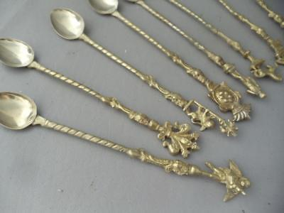 Antique Vtg Italian Brass Fleur De Lis Cherubs + Long Ice Tea Spoon Set Marked