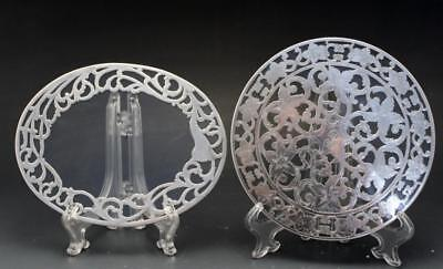 Antique Pair of Trivets Webster Co. Glass & Sterling Silver Overlay Art Nouveau