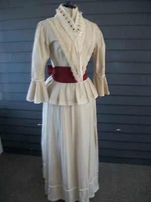 Lovely Reproduction Late 1880's Beige Bustle Dress Victorian Cosplay