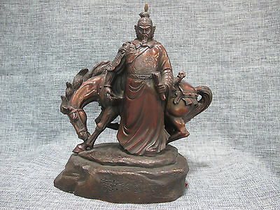 China Pure Bronze Famous National hero General Yue Fei Warrior and Horse Statue