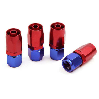 4Pcs AN6 Straight 6 AN Swivel Fuel Oil Air Gas Hose End Fitting Adaptor Red+BLue