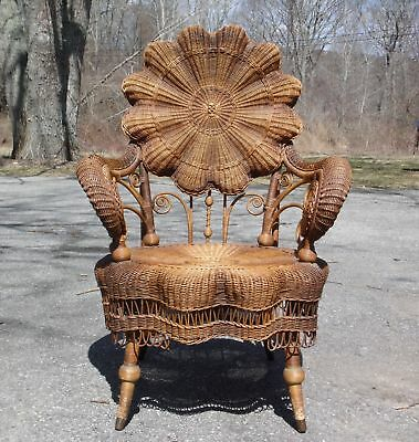 Antique Heywood Bros & Co Victorian Ornate Wicker Portrait Arm Chair c.1890