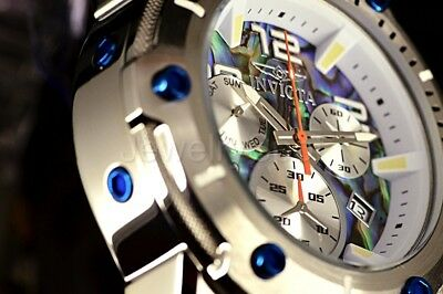 Invicta 50MM Speedway Viper Swiss Ronda Z60 Abalone Dial Silver SS Bracelet Watc