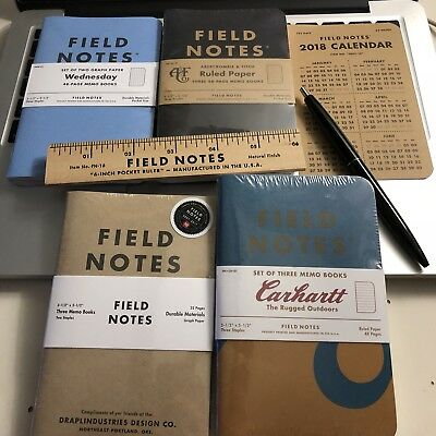Field Notes Notebooks Lot plus Extras Wednesday Abercrombie Fitch Carhartt