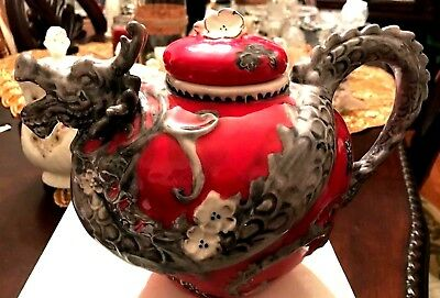 Red and Grey Dragon Tea Pot..Blue Sky Clayworks Heather Goldminc -  New.NO Box