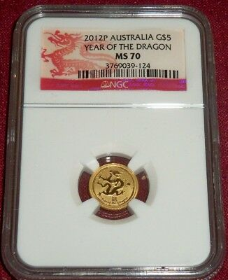 2012 $5 Australian Gold, Year Of Dragon, Reverse Frosty Proof, Ngc Ms 70
