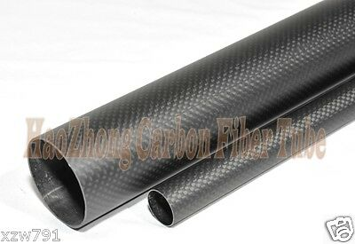 50mm OD x 47mm ID x 1000mm Long Carbon Fiber Tube Tubing Gloss Roll Wrappe 50*47