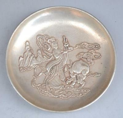Old china copper plating silver hand engraving peri boy pattern plate b02