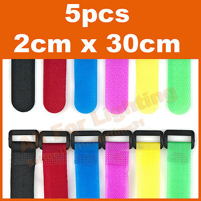 5pcs 2cm x 30cm Strap Hook Loop Fastener Belt Wrap Tie Fishing Hiking Camping