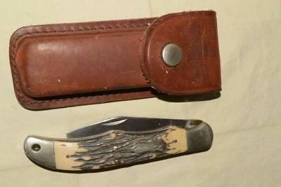 PARTS/REPAIR Vtg SCHRADE USA Bone Stag UNCLE HENRY 127uh Folding KNIFE SHEATH