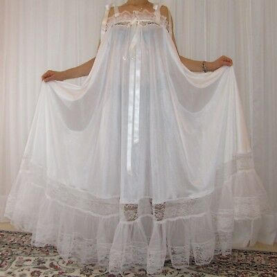 Vtg nylon lace lingerie nightgown babydoll long full sweep negligee M-6X