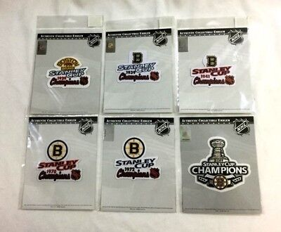 6 Time 6X 1970 1972 2011 Stanley Cup Champions Boston Bruins Trophy Patch Set 6