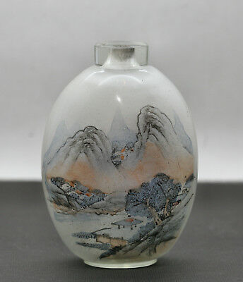 Superb Work Of Art Antique Chinese Cut Crystal Inside Painted Scent Bottle