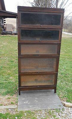 Anitque Globe And Wernicke Five  Stack Barrister Bookcase Mission Style