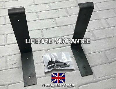 Rustic 22Cm Chunky Industrial Metal Brackets For Solid Wood Shelves (Set Of Two)
