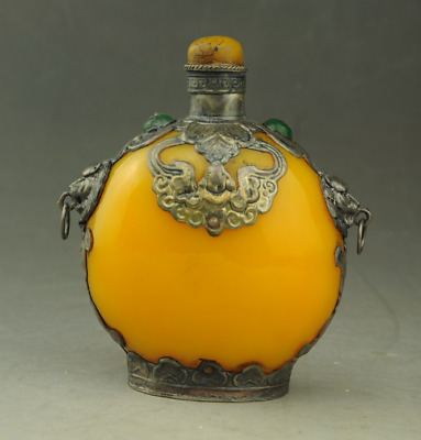 Rare Chinese Glass Carve Yellow Snuff Bottle b01