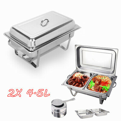 9L Stainless Steel Bain Marie Bow Chafing Dish 4.5Lx2 Buffet Food Stackable Set
