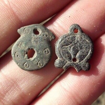 Pair Of Ancient Celtic Druids Bronze Fertility Amulets  - 200 Bc